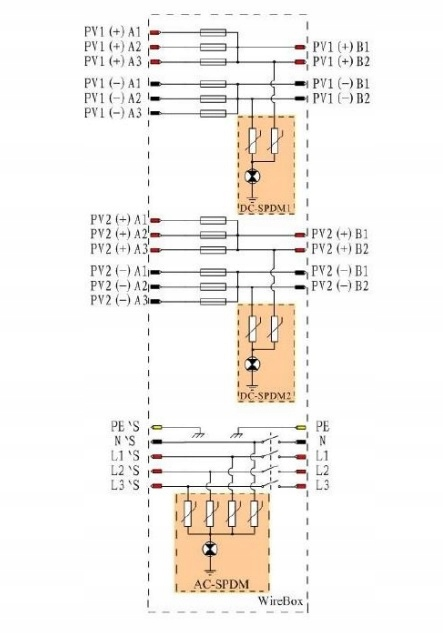 Schemat elektryczny Growatt WireBoX zabezpieczenia DC oraz AC 3-15kW