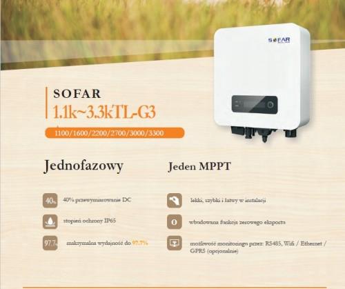 Informacje Inwerter falownik Sofar Solar 2700TL-G3 1 fazowy