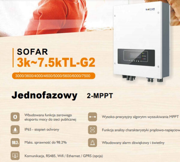 Inwerter Sofar Solar 3.6KTLM-G2 3kW 1 fazowy 2MPPT